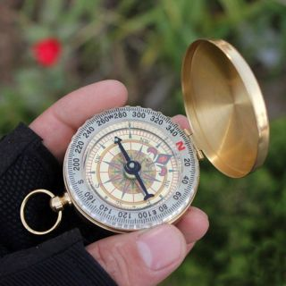 Classic Pocket Watch Style Camping Compass Hiking Aluminum Alloy Shell Golden photo