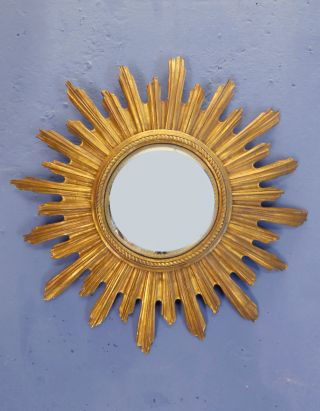 Vintage Gold Painted Carved Wood Mid Century French Sunburst Mirror 1950s photo