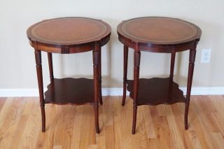Rare Find Identical 2 Table Pair Regency Style Mahogany & Leather End Tables photo