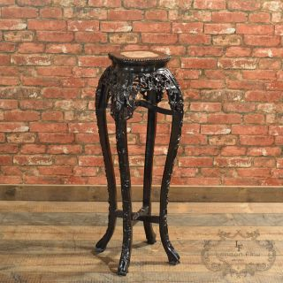 Antique Chinese Rosewood Plant Stand,  Oriental Rosewood Torchere,  C19th C.  1870 photo