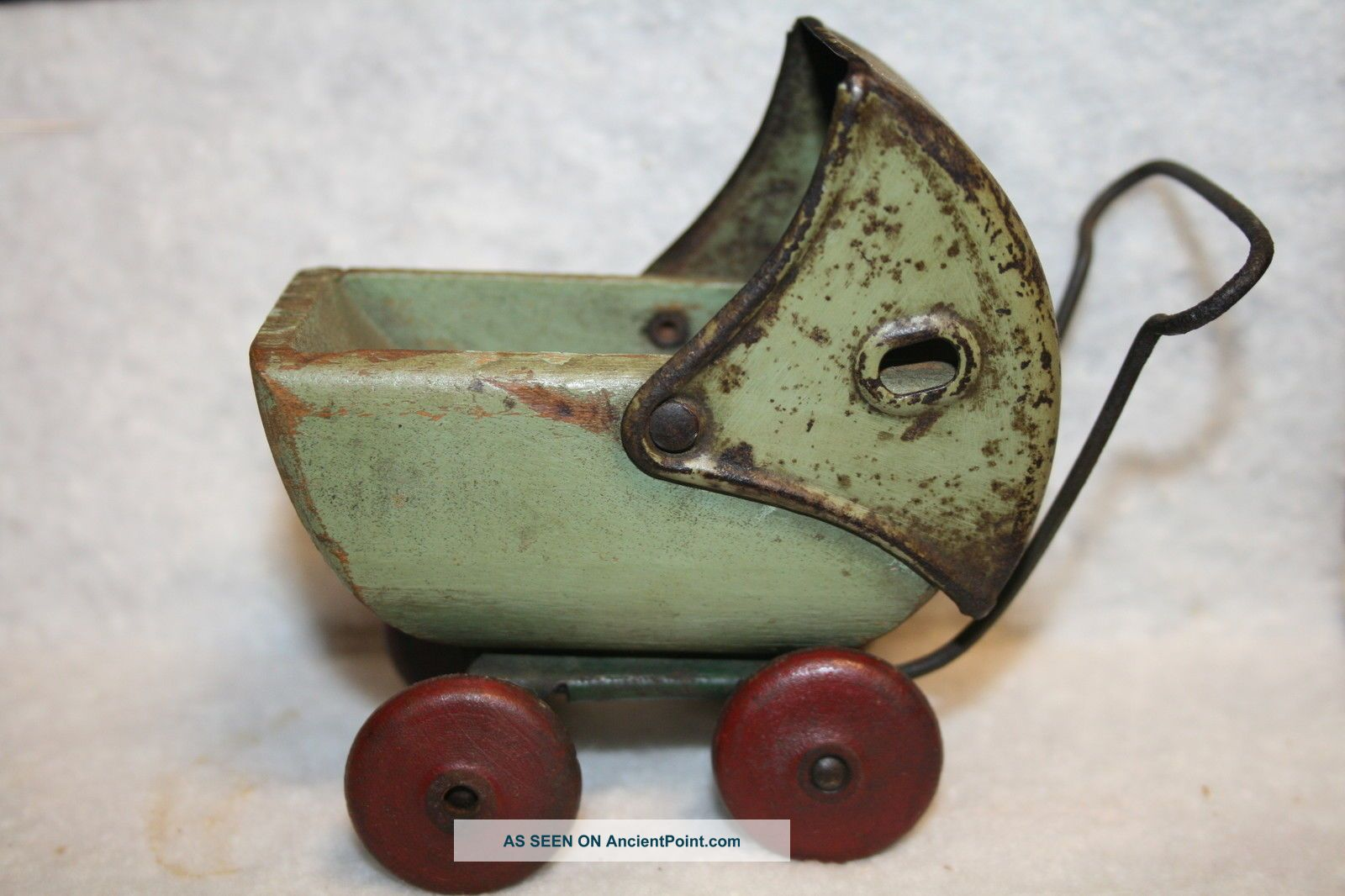 Vintage Green Wood Metal Toy Baby Doll Stroller Carriage Buggy Baby Carriages & Buggies photo