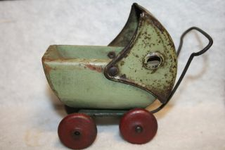 Vintage Green Wood Metal Toy Baby Doll Stroller Carriage Buggy photo