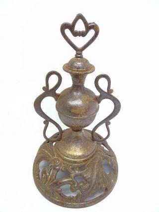 Antique Old H Oak 12 1287 Woodstove Finial Vent Topper Top Part Piece Cast Iron photo