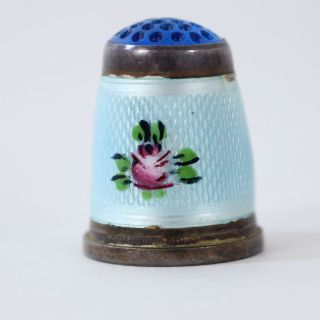 Antique 925 Sterling Silver Guilloche Enamel Thimble Art Glass Top German Size 8 photo