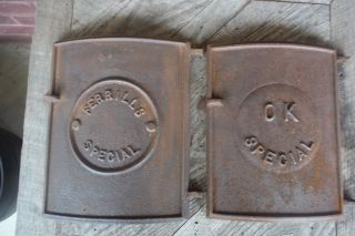 2 Different Vtg Cast Iron Wood Stove Doors Without Frames - Steampunk Decor photo