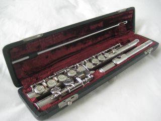 Vintage Silver Plated Gebruder Monnig Flute,  Cased photo