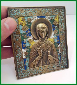 Russia Orthodox Bronze Icon Saint Anna.  Enameled First Half Of 20th.  Century. photo