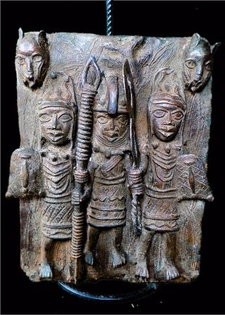 Old Tribal Benin Bronze King And Palace Guard Figure - - - Edo,  Nigeria photo
