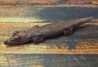 Brt Vintage Old 1960 ' S Png Detailed Baby Crocodile Wood Carving Pacific photo