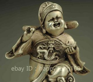 China Chinese Silver Fengshui Child Children Hold Yuanbao Wealth God Statue photo