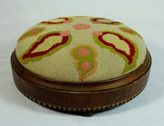 Vintage Needlepoint Round Wooden Low Foot Stool Stool Small photo