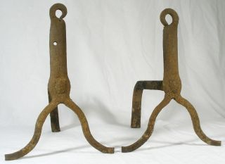 Antique Primitive Andirons Old Hand Forged Firedogs photo