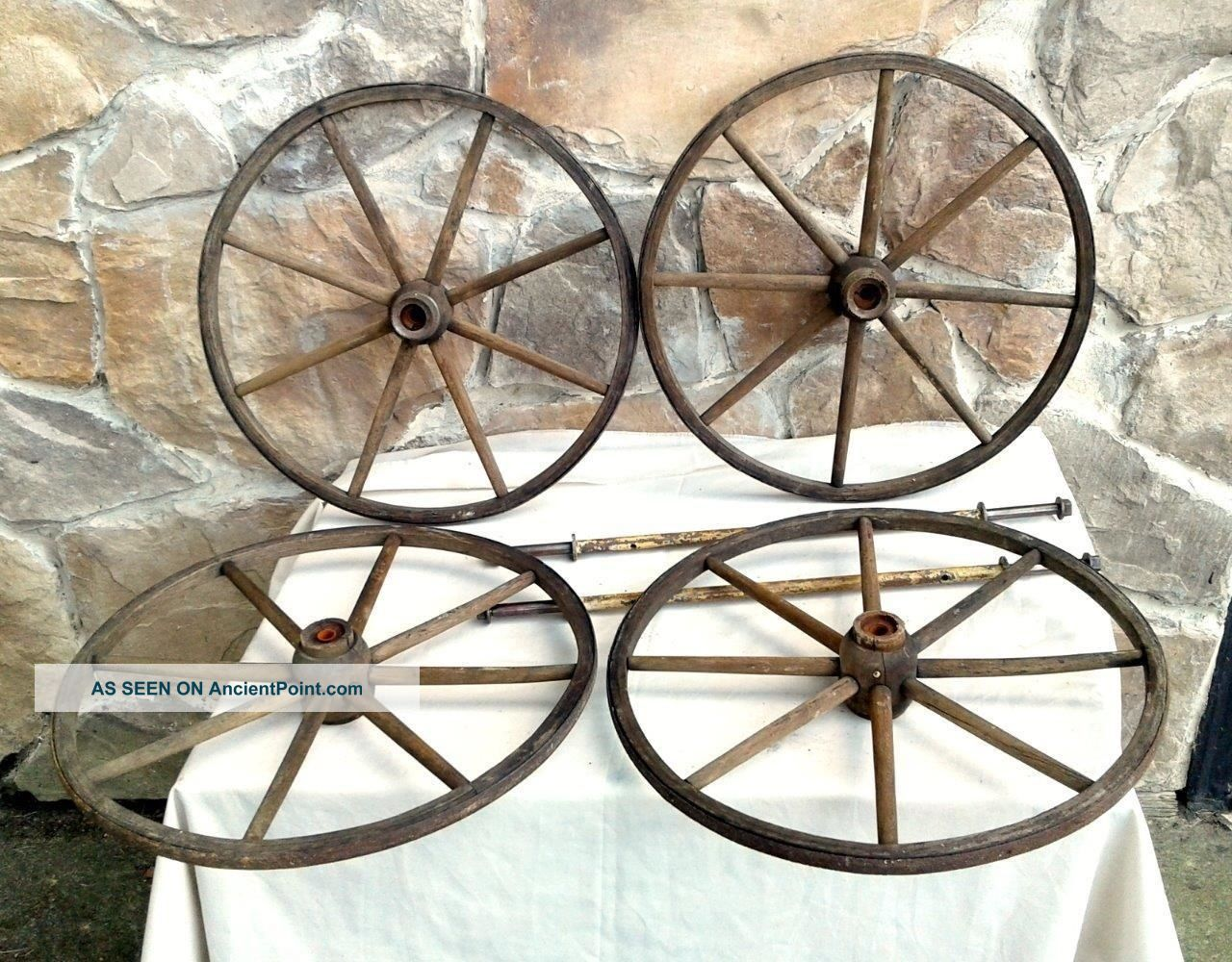 4 Primitive Antique Baby Carriage Buggy Wood Wheels And Axles Circa 1880 Baby Carriages & Buggies photo