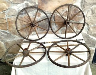 4 Primitive Antique Baby Carriage Buggy Wood Wheels And Axles Circa 1880 photo