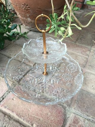 Vintage 1950s Two Tier Cut Glass Cake Stand Brass Colored Handle Item photo