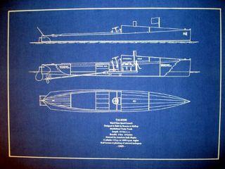 Vintage 1905 Racing Speed Boat Marblehead Yacht Blueprint Plan 16x22 (138) photo