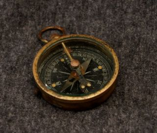 Antique Pocket Compass Made Of Copper And Brass With Glass Cover photo