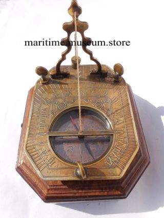 Solid Brass Pendulum Sundial Compass With Hardwood Box. photo