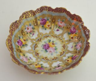 Opulent Antique Art Nouveau Hand Painted Dish Bowl With Roses And Gilt Rr875 photo