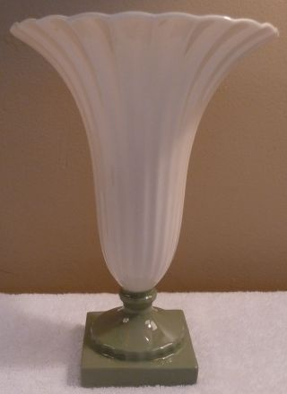 Rare Lenox Green Mark Regal Large White Ribbed Trumpet Vase With Green Base photo