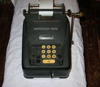Vintage Remington Rand Adding Machine Calculator Hand Crank Bookkeeping Machine photo
