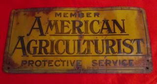 American Agriculturist Protective Service Embossed Tin Sign 1948 Am.  Can Co. photo