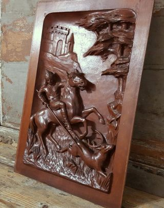 Gothic Hunting With Hounds Sculpture 23 In Antique French Carved Wood Wall Panel photo