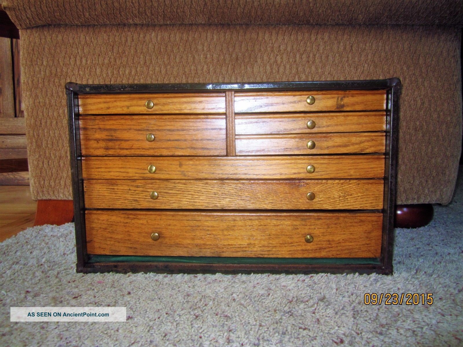 Antique Oak Brass Industrial Tool Chest Jewelry Box Primitive Wood File Cabinet 1900-1950 photo