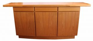 Mid Century Modern Danish Teak Credenza Buffet Signed Tile Drawer photo