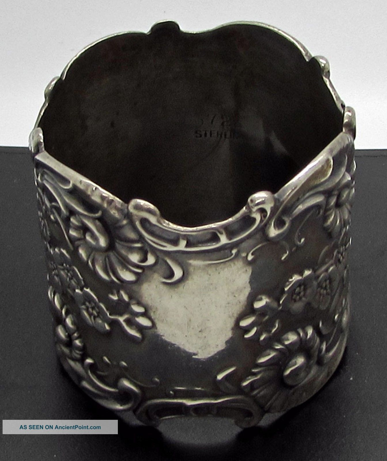 Antique Art Nouveau Sterling Silver Napkin Ring Repousse Flowers Ornate Napkin Rings & Clips photo
