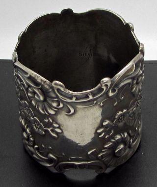 Antique Art Nouveau Sterling Silver Napkin Ring Repousse Flowers Ornate photo