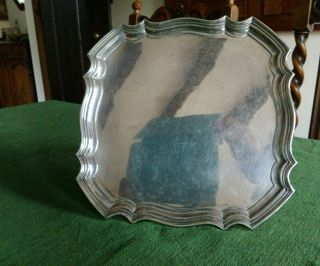 Small Square Silver Plated Tray,  Pretty Rim And Detailed Feet photo