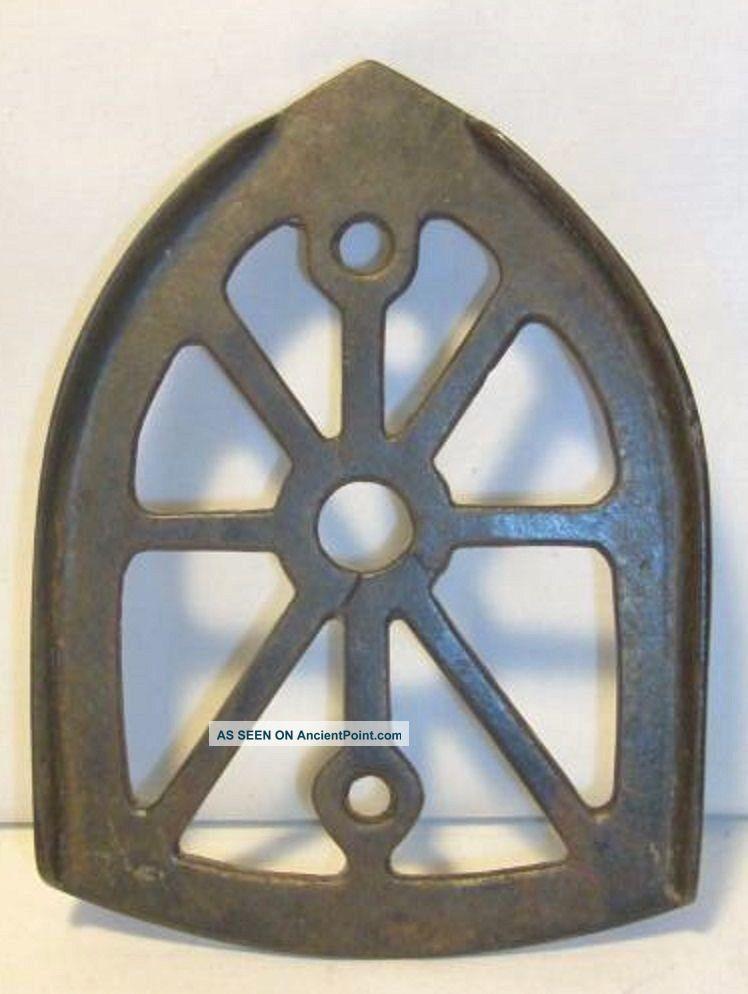 Antique Cast Iron Pressing Iron Trivet Lines Decorative Patina Trivets photo