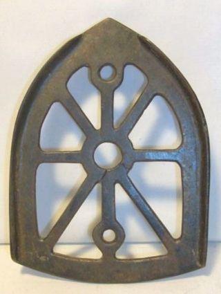 Antique Cast Iron Pressing Iron Trivet Lines Decorative Patina photo