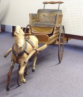 Antique Children ' S Horse Drawn Carriage.  Sculpted Wooden Horse.  33