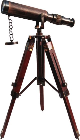 Maritime Decor Antique Vintage Nautical Brass Telescope With Wooden Tripod Stand photo