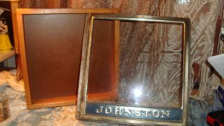 Antique General Johnston Store Wood Dove Tails & Glass Display Advertising Box photo
