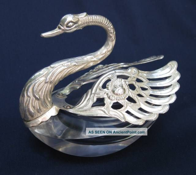 4 Italian Aldo German Sterling Silver Crystal Swan Open Salt Pepper Cellars Dips Salt Cellars photo