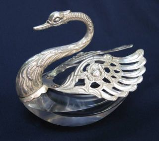 4 Italian Aldo German Sterling Silver Crystal Swan Open Salt Pepper Cellars Dips photo