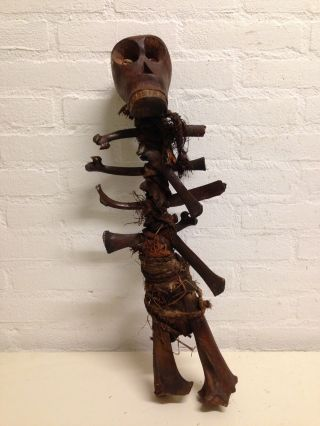 Iv.  Coast: Rare And Old Tribal African Baule Fetisch Figure - 60 Cm. photo