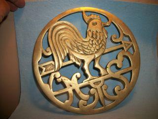 Vintage Brass Rooster Trivet.  Approx.  7.  5