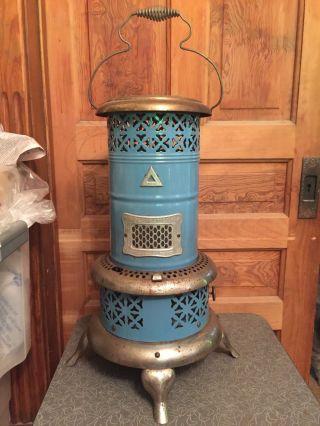 Antique Blue Porcelain Enamelware Perfection Smokeless Oil Heater No 630 photo