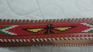 Native American Indian Phoenix Beaded Brown Leather Belt 35