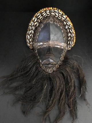 Rare African Dan Mask Liberia Metal Teeth Slit Eyes Coiled Silver Beads Ar129 photo