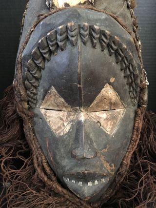Rare Antique African Dan Mask Metal Teeth Slit Eyes Hide Hat Beard Shells Ar128 photo