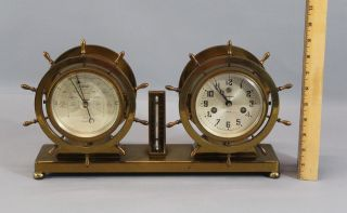 Vintage Waterbury Ships Bell Clock No 19 W/thermometer & Barometer photo