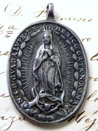 Antique Spanish Colonial Silver O.  L.  Of Guadalupe Catholic Shrine 1682 Medal photo