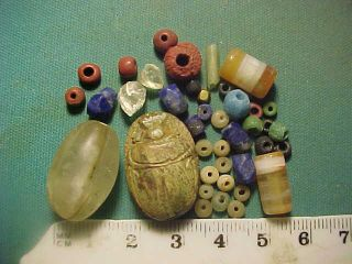 30,  Ancient Beads Circa 1000 Bc - 700 Ad,  Egyptian Scarab Amulet photo