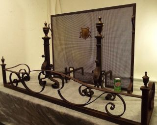 Antique 3 Pc Bronze Wrought Iron Screen Andirons Fender Tudor Spanish Fireplace photo