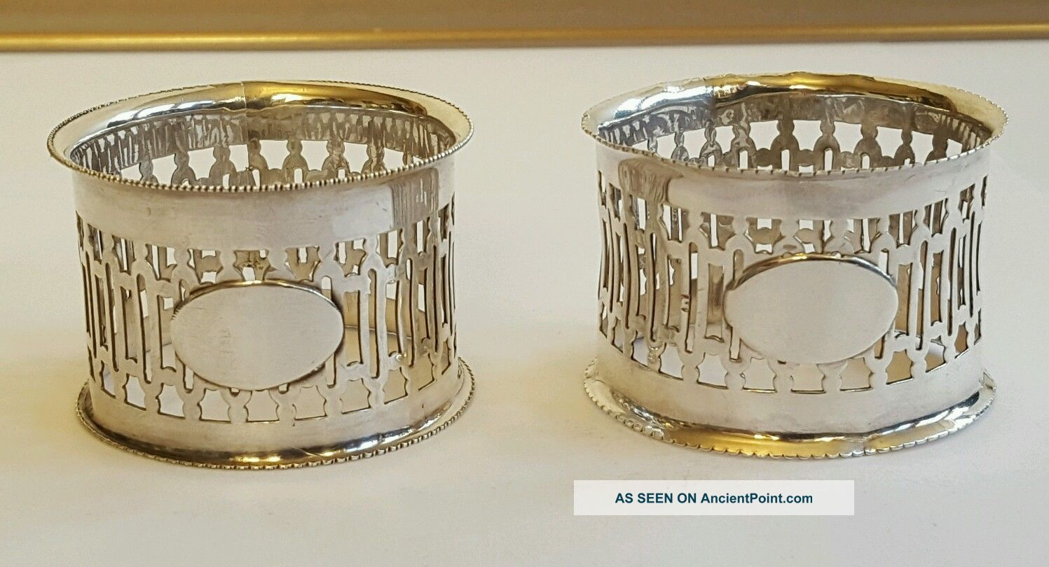 A Stylish Solid Silver Napkin Rings Birmingham 1919 Napkin Rings/Clips photo